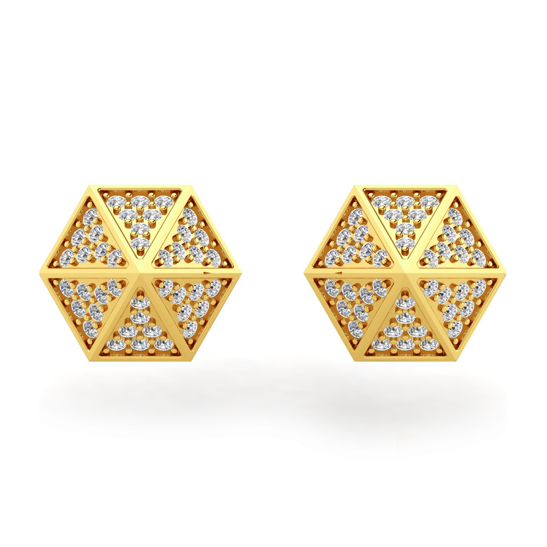 Solid Gold Real Diamond Spike Stud Earrings
