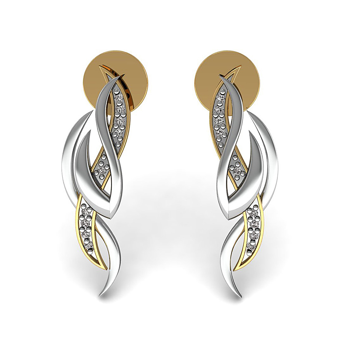18k solid gold real diamond stud earrings