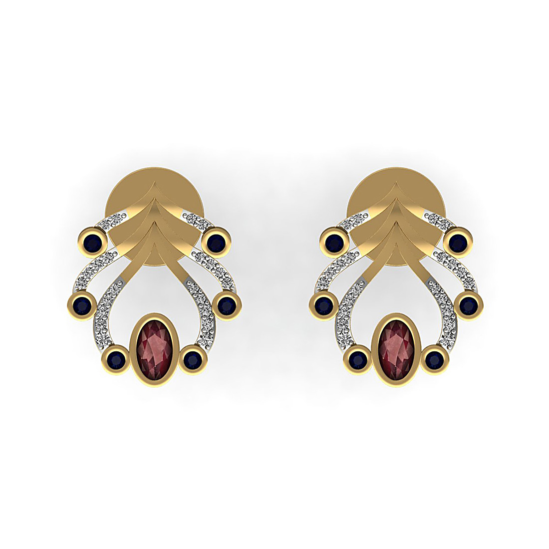 Natural diamond stud earrings made in 18k gold with gemstone