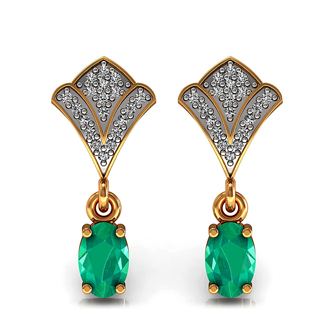 Natural diamond drop stud earrings made in 18k solid gold & emerald