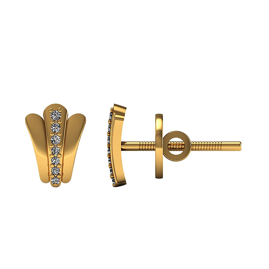 Beautiful genuine diamond stud earrings made in 18k solid yellow gold.
