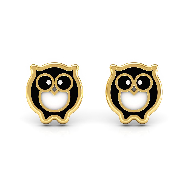 Solid Gold OWL Shape Enamel Kids Stud Earrings